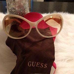 Guess white sunglasses